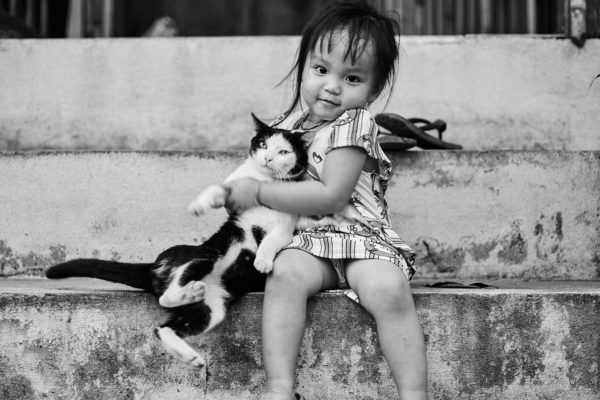 Pvk Photo | Petite fille laotienne avec son chat