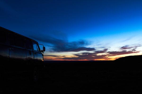 Couché de soleil à l'heure Bleue en Mongolie